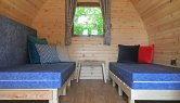 Room for 3 single beds in both camping pods at Resipole