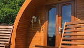 Resipole camping pods have their own decking.